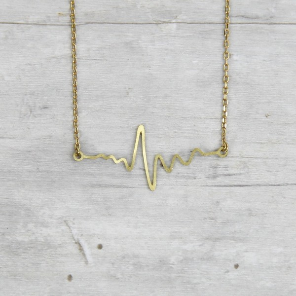 Necklace short lasered Heartbeat