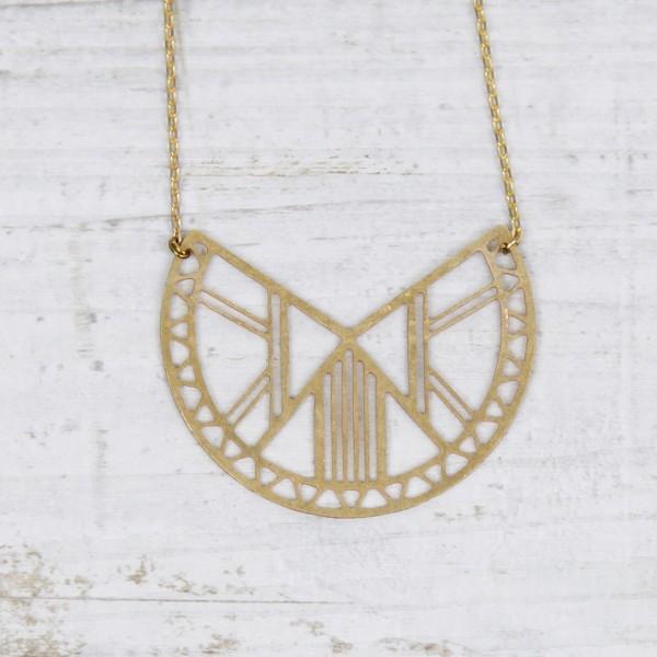 Necklace short Semi Circle Lasercut