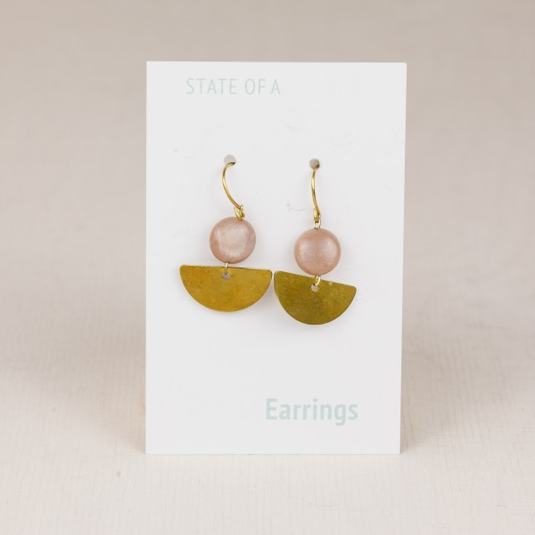Earring Gemstone Semi Circle & Gem