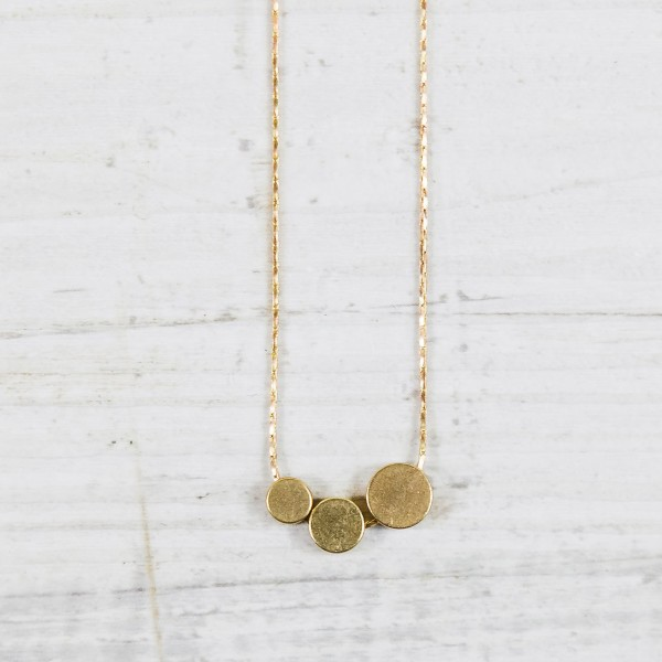 Necklace short Three Circles asymmetrical