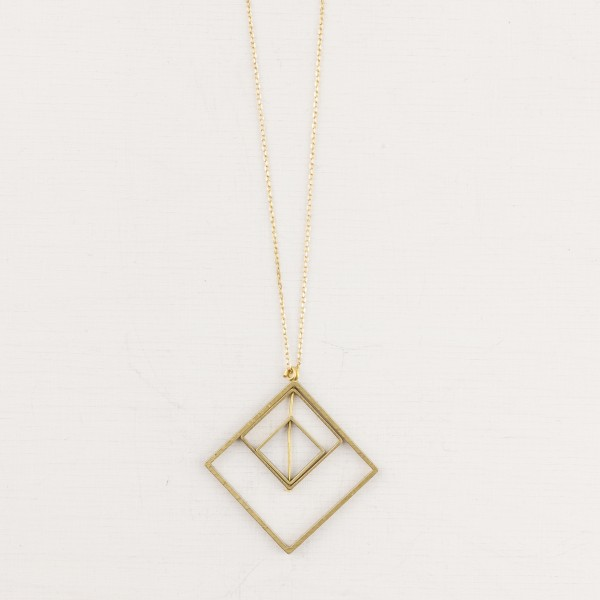 Necklace long Brass Squares
