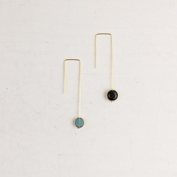 Earring Gemstone Framed Coin Beads