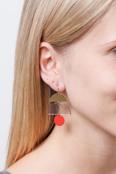 Earring matte Circle Semi Circle Acrylic