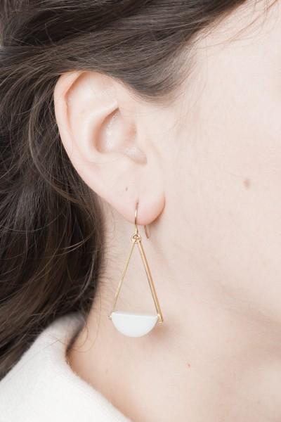 Earring Gemstone Amazonite Semi Circle