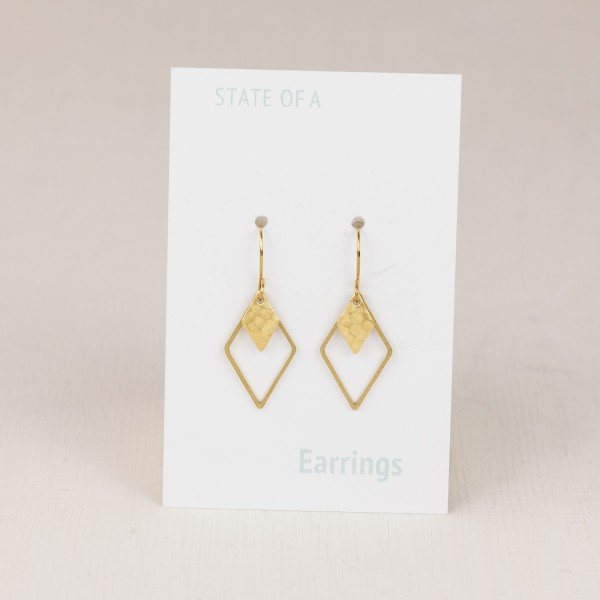 Earring Diamond Rhombus hammered