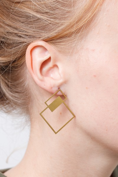 Stud Earring lasered Square