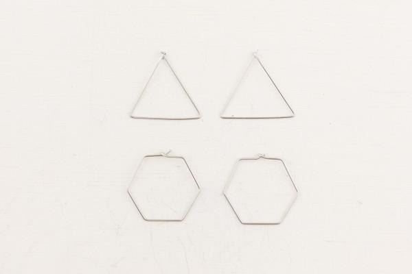 Earring Creole Hexagon brass small