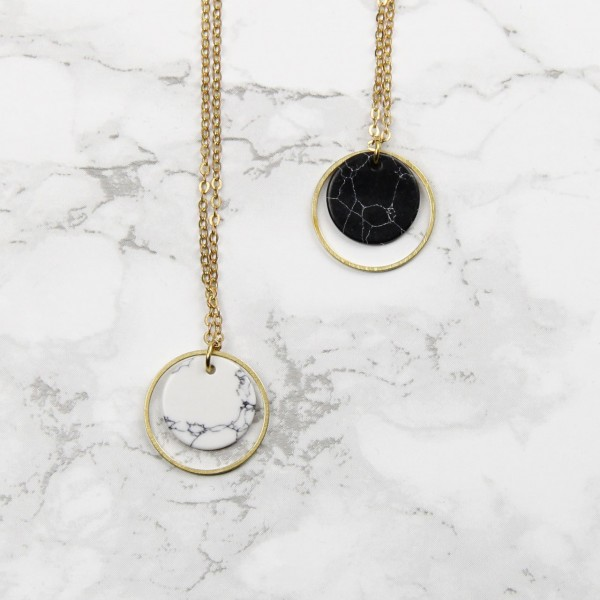 Necklace long Marble Circle