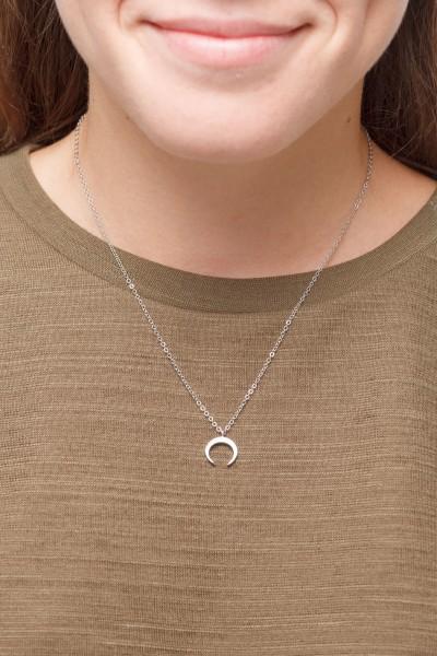 Necklace short silver moon