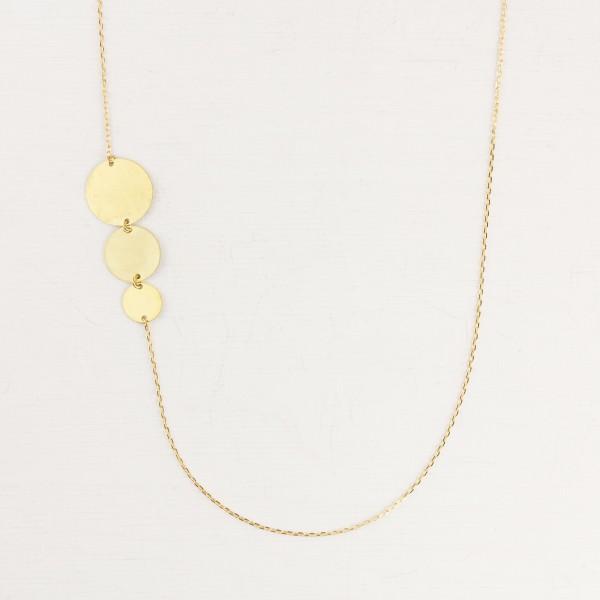Necklace long triple Circle asymmetrical