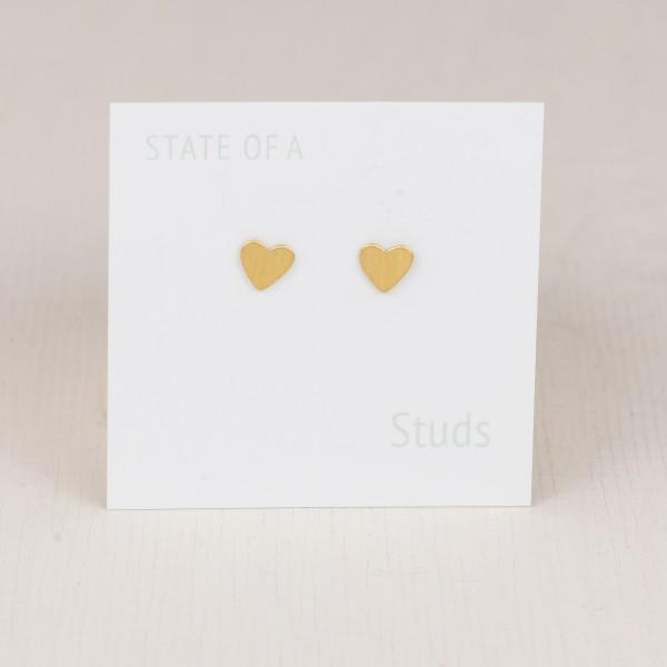 Studs Heart simple Brass