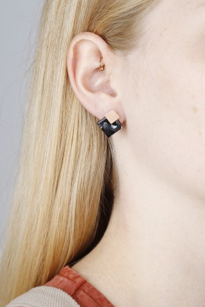 Earring Stud 3 in 1 Acrylic Square
