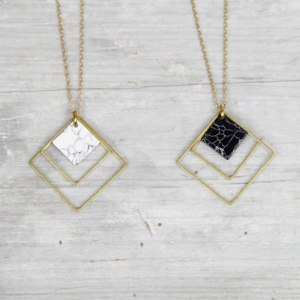 Necklace long Marble Square