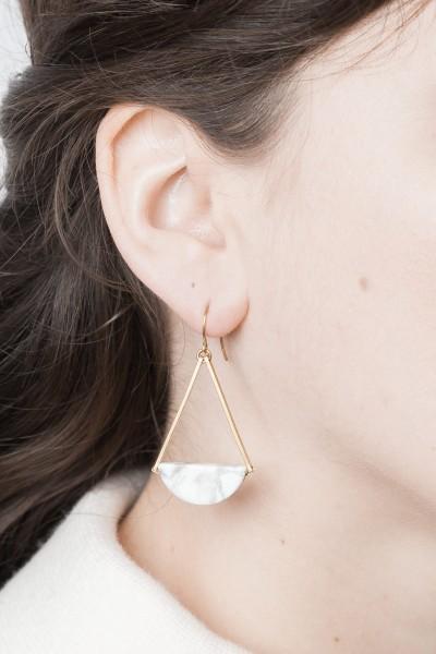 Earring Gemstone Marble Semi Circle