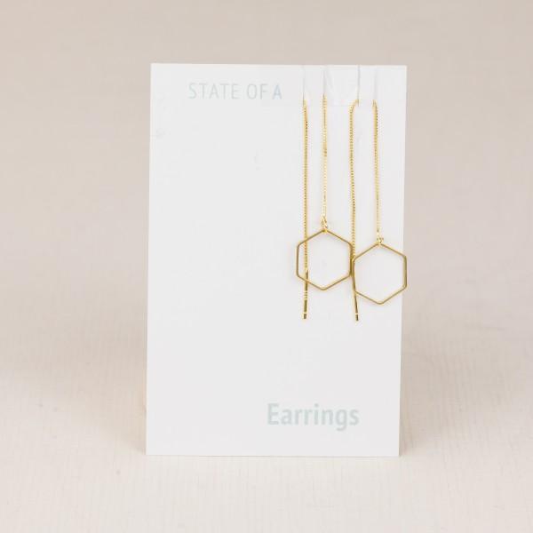 Thread Earring Line Hexagon