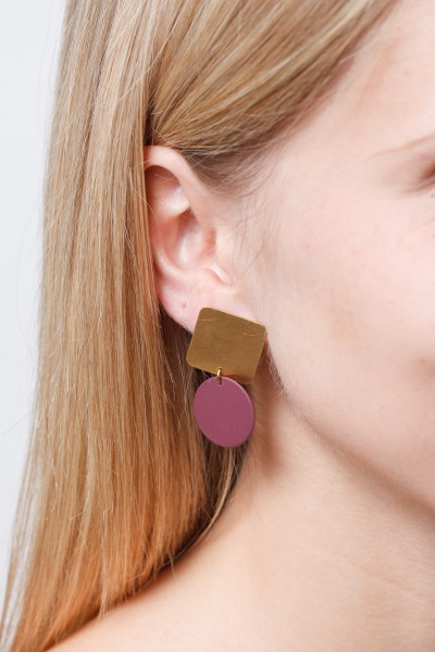 Earring matte Circle & Square