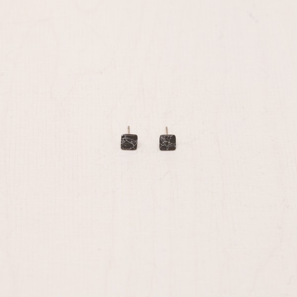 Earring Stud Square Marble
