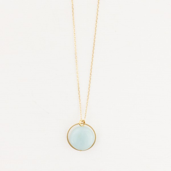 Necklace long Circle and Gem Coin