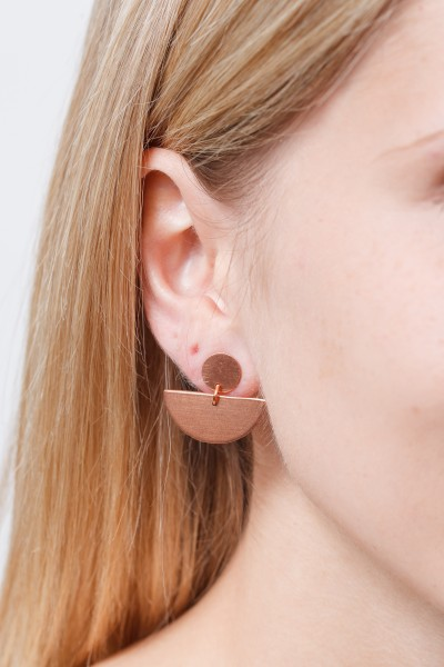 Earring Studs Copper Circle & Semi Circle