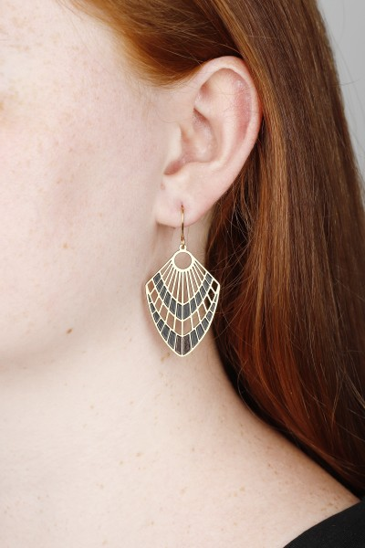 Earring hanging lasered Shapes Black & Gold