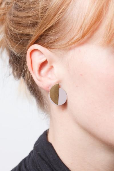 Earring matte Circle & Semi Circle 2 in 1