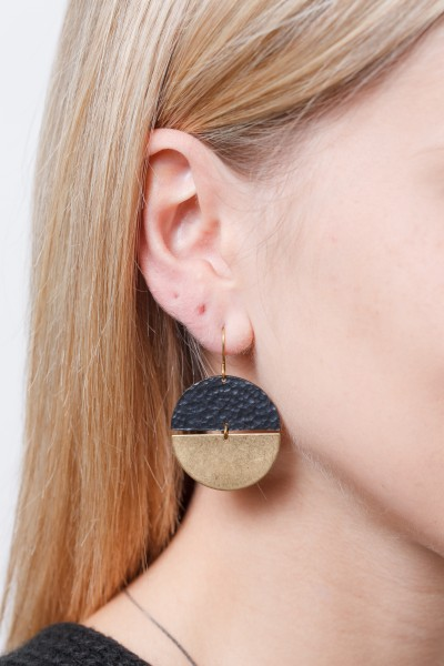 Earring semi Circle Black & Gold or Gold
