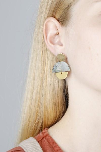 Earring Stud Gemstone Labradorite