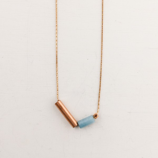 Necklace long Gem and Tube