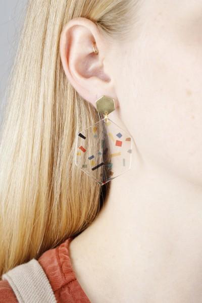 Earring Stud Hexagon clear Acrylic
