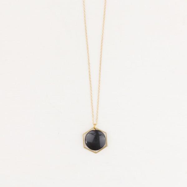 Necklace long Gemstone Hexagon