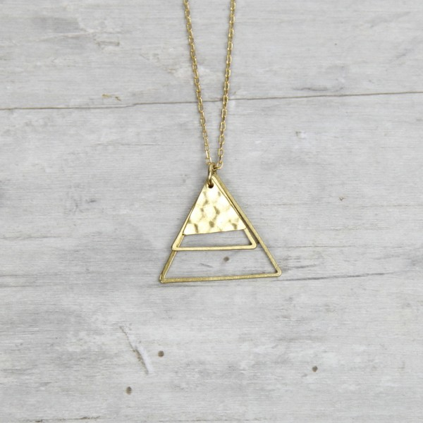 Necklace long three Triangles hammered