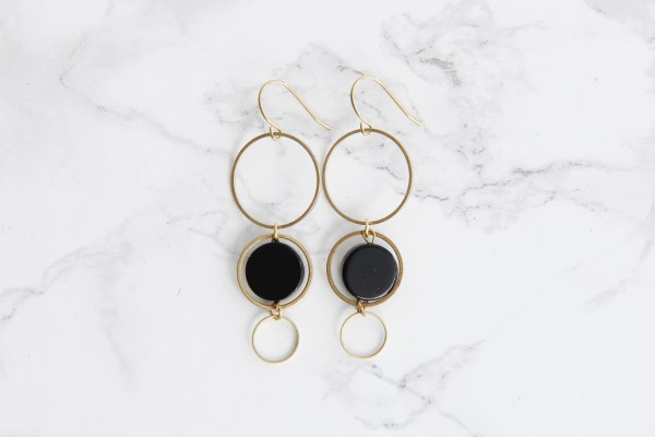 Earring Gemstone Coin and Circles