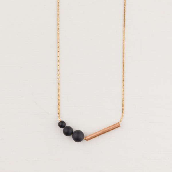 Necklace long Copper Gem and Tube