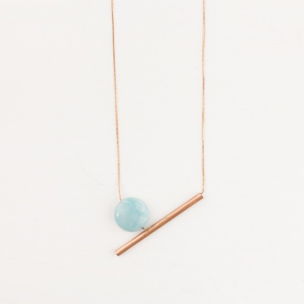 Necklace short Gem asymmetrical Tube