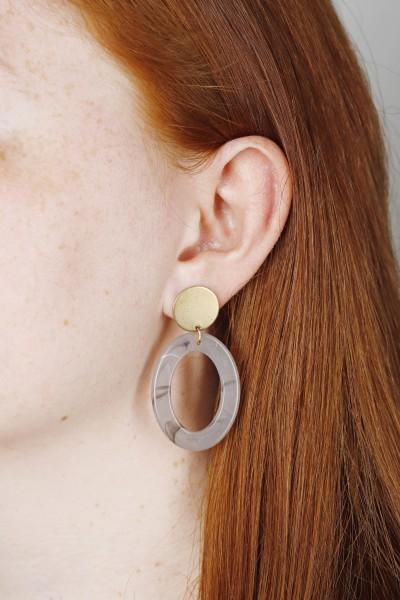 Earring Stud Acrylic Oval greyish