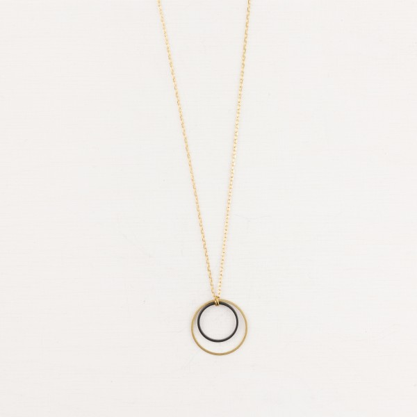 Necklace long Double Circle Black