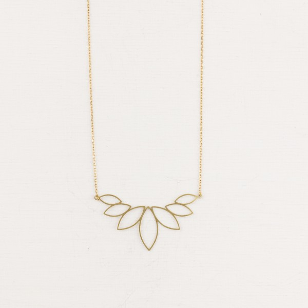 Necklace short Lotus big lasered
