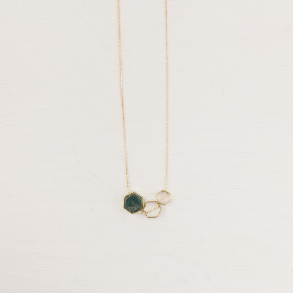 Necklace short Gem Open Hexagon