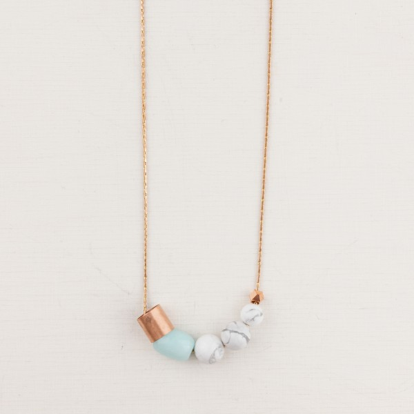 Necklace long Marble and Gem Copper