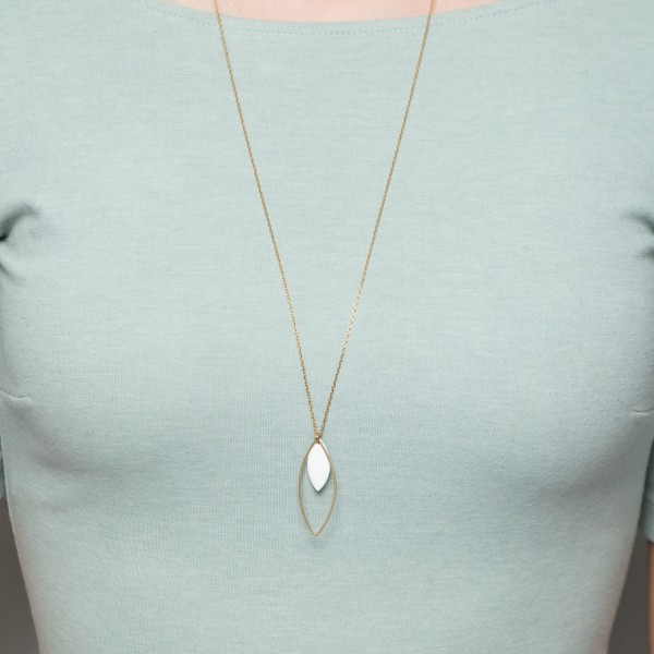 Necklace long Lotus Leaf & Enamel