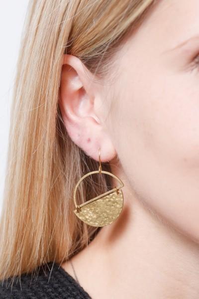 Earring semi Circle hammered