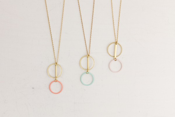Necklace long Circle Shapes coloured