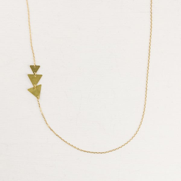 Necklace long Triple Triangles asymmetrical