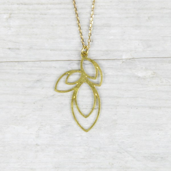 Necklace long Lotus Leaves lasered