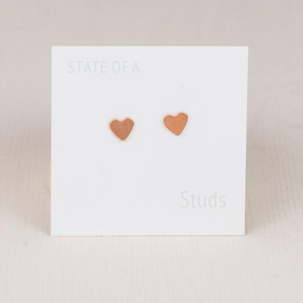 Studs Heart simple copper