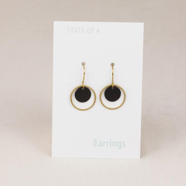 Earring Circle Black & Gold