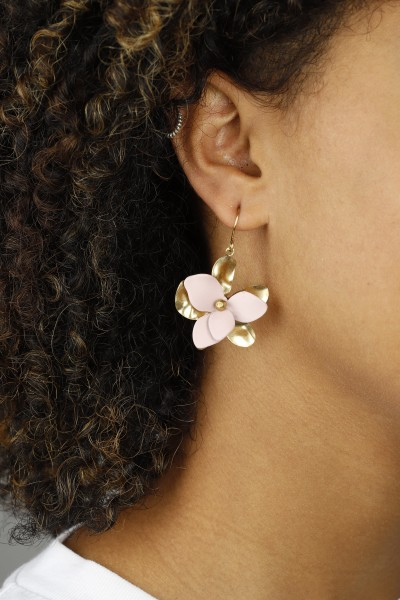 Earring hanging Flower matte Colours