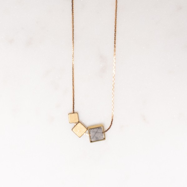 Necklace short Gem Square