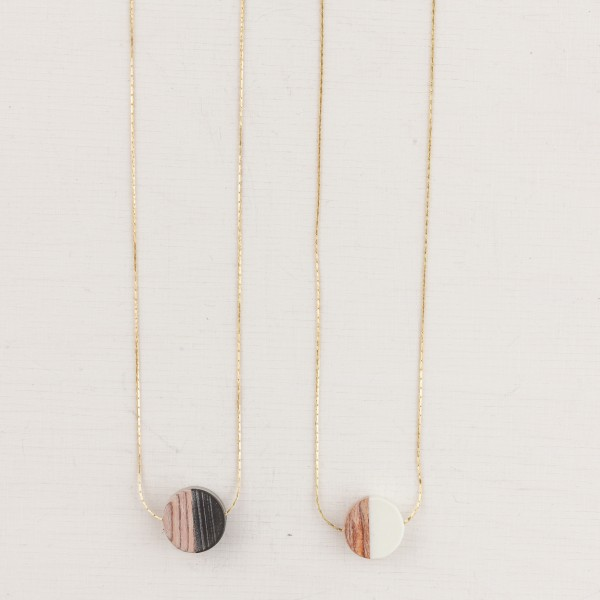 Necklace short Wooden Circle Black&Wood