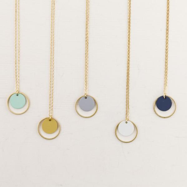 Necklace long Circle matt Colours